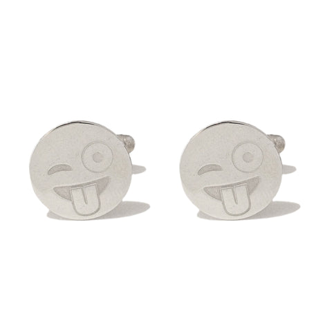 Sterling Silver 'Crazy Wink' Emoji Smiley Face Cufflinks