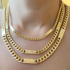 14K Gold Cuban Link Bar Chain Necklace, Small Size Link ~ In Stock!