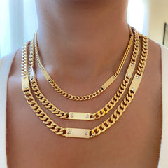 14K Gold Cuban Link Bar Chain Necklace, Large Size Link ~ In Stock!