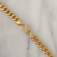 14K Gold Cuban Link Bar Chain Bracelet, Large Size Links