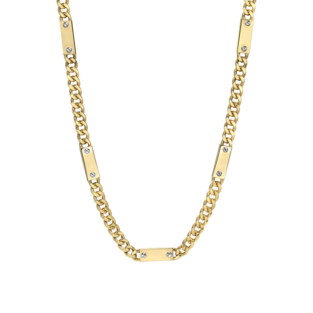 14K Gold Cuban Link Bar Chain Necklace, Large Size Link