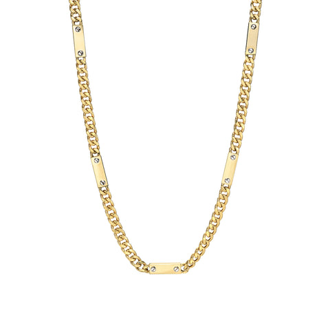 14K Gold Cuban Link Bar Chain Necklace, Medium Size Link ~ In Stock!