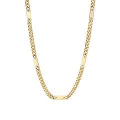 14K Gold Cuban Link Bar Chain Necklace, Medium Size Link