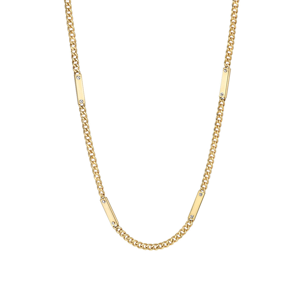 14K Gold Cuban Link Bar Chain Necklace, Small Size Link