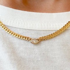 14K Gold Diamond Marquise Solitaire Cuban Link Chain Necklace