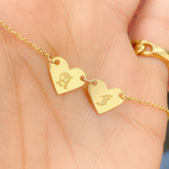 14K Gold Engravable Double Heart Necklace