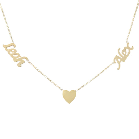 14K Gold Double Name Heart Charm Pendant Necklace ~ Calligraphy Font
