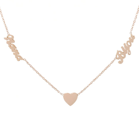 14K Gold Double Name Heart Charm Pendant Necklace ~ Script Font