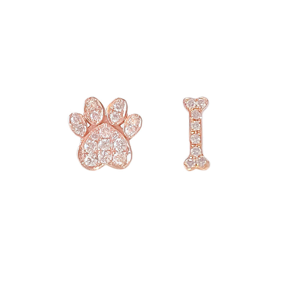 14K Gold Pavé Diamond Paw Print & Dog Bone Stud Earrings