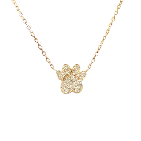 14K Gold Pavé Diamond Paw Print Charm Pendant Necklace ~ In Stock!