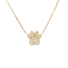14K Gold Pavé Diamond Paw Print Charm Pendant Necklace