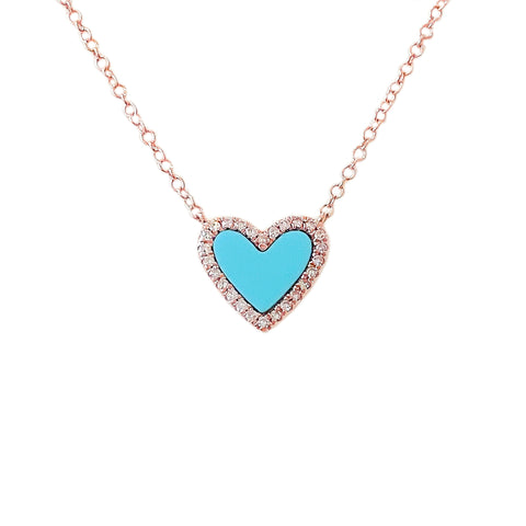 Turquoise Inlay & Diamond Halo Heart Solitaire 14K Gold Necklace ~ LIMITED EDITION