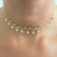 14K Gold & Diamond Fringe Choker Charm Necklace