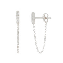 14K Gold Pavé Diamond XS Bar Chain Dangle Stud Earrings