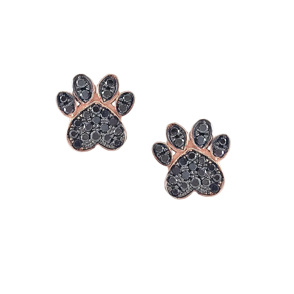 14K Gold Pavé Black Diamond Dog Paw Print Stud Earrings