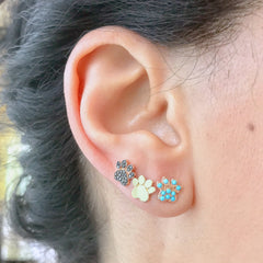 14K Gold Pavé Turquoise Paw Print Stud Earrings