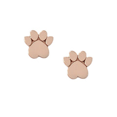 14K Gold Paw Print Stud Earrings