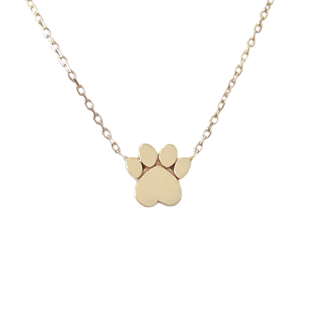 14K Gold Paw Print Charm Pendant Necklace