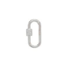 14K Gold Elongated Oval Carabiner Diamond Lock Charm Enhancer, Small Size ~ In Stock!