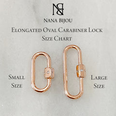 14K Gold Elongated Oval Carabiner Diamond Lock Charm Enhancer, Large Size ~ In Stock!