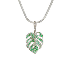 14K Gold Pavé Emerald Monstera Palm Leaf Necklace