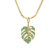 14K Gold Pavé Emerald Monstera Palm Leaf Necklace ~ In Stock!