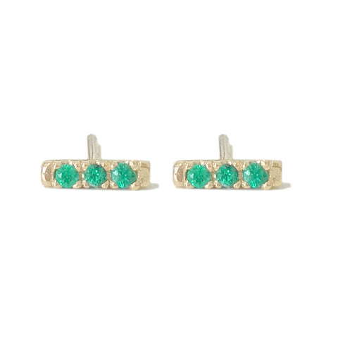 14K Gold XS Pavé Emerald Bar Stud Earrings