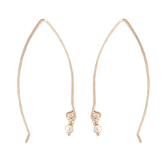 14K Gold & Cultured White Freshwater Pearl Threader Wire Earrings