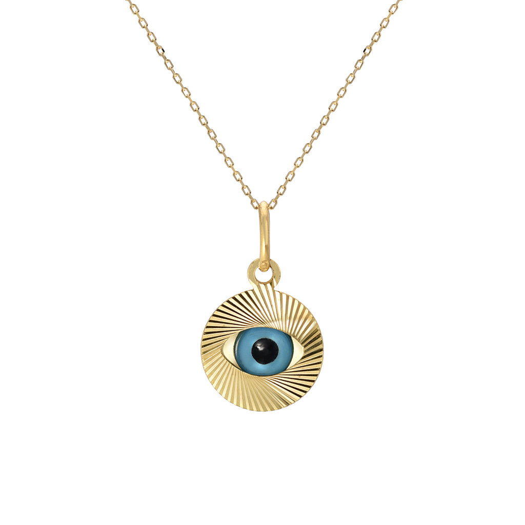 14K Gold Evil Eye Fluted Coin Necklace ~ LIMITED EDITION