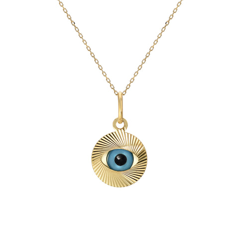 14K Gold Evil Eye Fluted Coin Necklace, LIMITED EDITION ~ In Stock!