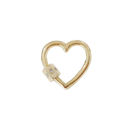 14K Gold Heart Carabiner Diamond Lock Charm Enhancer