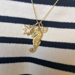14K Gold Large Size Seahorse Pendant Necklace with Turquoise Eye