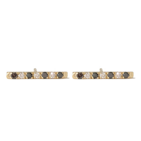 14K Gold Large Pavé Black & White Diamond Bar Stud Earrings ~ In Stock!
