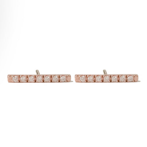 14K Gold Large Pavé Diamond Bar Stud Earrings