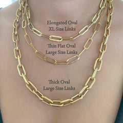 14K Gold Thin Flat Oval Link Chain Necklace, Large Size Link ~ In Stock!