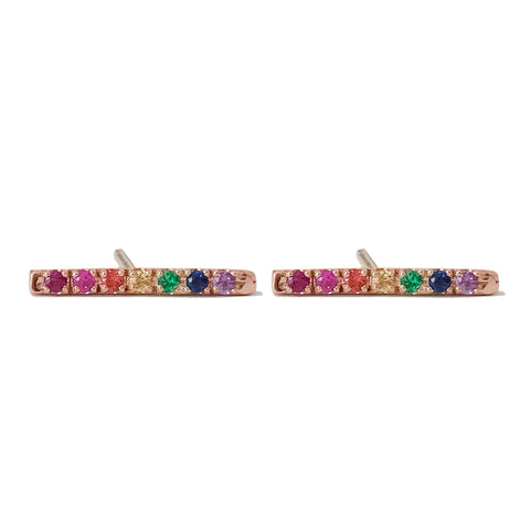 14K Gold Large Pavé Rainbow Gemstone Bar Stud Earrings
