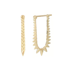 Spike Collection: 14K Gold Spike Huggie Hoop Earrings, Large Size ~ In Stock!