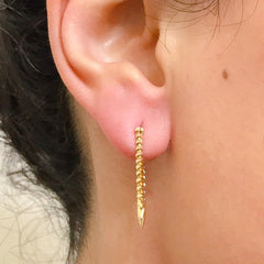 Spike Collection: 14K Gold Spike Huggie Hoop Earrings, Large Size