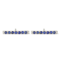 14K Gold Large Pavé Sapphire Bar Stud Earrings