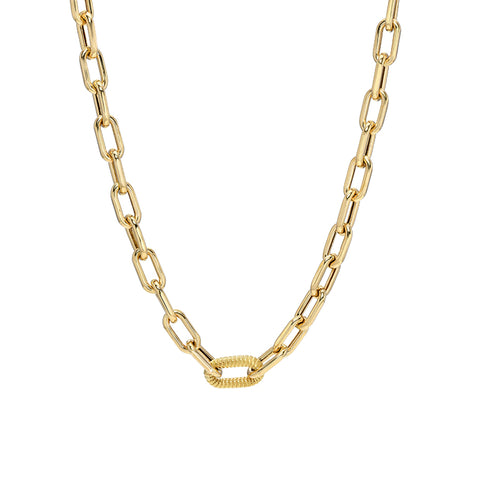 14K Gold Single Rope Detail Thick Oval Link Necklace ~ LIMITED EDITION