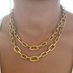 14K Gold Triple Rope Detail Thick Oval Link Necklace ~ LIMITED EDITION