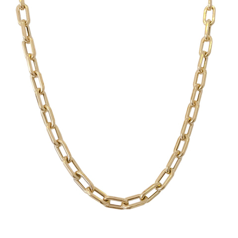 14K Gold Thick Oval Link Necklace ~ Large Size Links