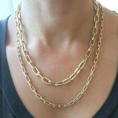 14K Gold Thick Oval Link Necklace ~ Small Size Links