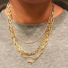 14K Gold Thick Flat Oval Link Necklace, Small Size Links