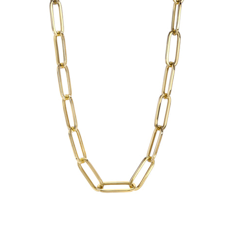 14K Gold Thin Flat Oval Link Chain Necklace, Large Size Link