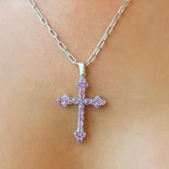 14K Gold Purple Sapphire Trinity Cross Necklace ~ Large Size