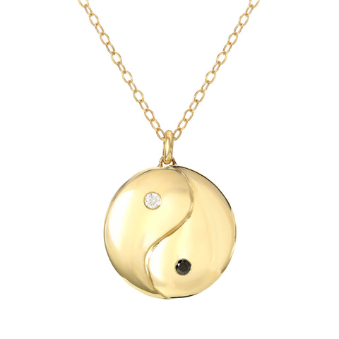 14K Gold & Diamond Yin Yang Pendant Necklace