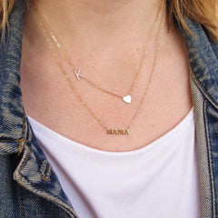 14K Gold 'MAMA' Charm Pendant Necklace