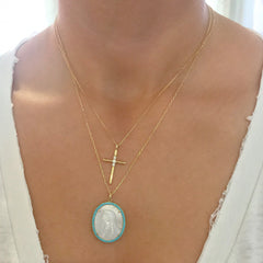 14K Gold Virgin Mary Miraculous Medal Mother of Pearl & Pavé Turquoise Necklace, LIMITED EDITION
