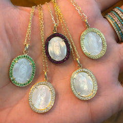 14K Gold Virgin Mary Miraculous Medal Mother of Pearl & Pavé Ruby Necklace, One Of A Kind LIMITED EDITION